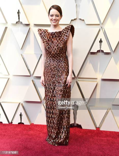 Emma Stone arrives at the 91st Annual Academy Awards at Hollywood and Highland on February 24 2019 in Hollywood California