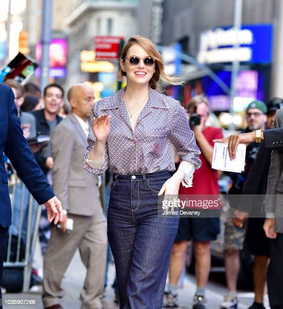 Emma Stone arrives to ABC's 'Good Morning America' on September 19 2018 in New York City