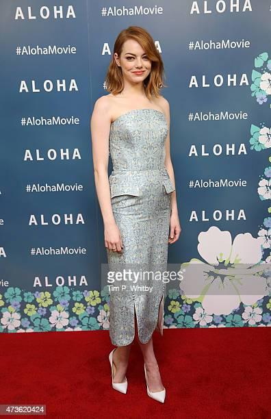 Emma Stone attends a VIP screening of 'Aloha' at Soho Hotel on May 16 2015 in London England