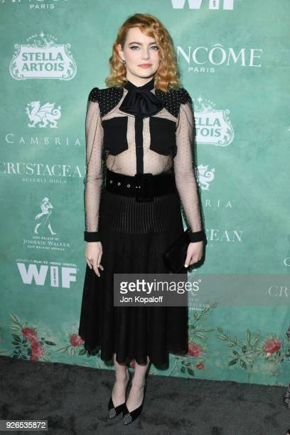 Emma Stone attends the 11th annual celebration of the 2018 female Oscar nominees presented by Women in Film at Crustacean on March 2 2018 in Beverly...