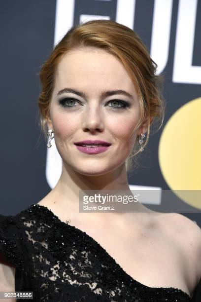 Emma Stone attends The 75th Annual Golden Globe Awards at The Beverly Hilton Hotel on January 7 2018 in Beverly Hills California