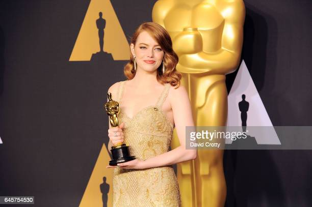 Emma Stone attends the 89th Annual Academy Awards Press Room at Hollywood Highland Center on February 26 2017 in Hollywood California