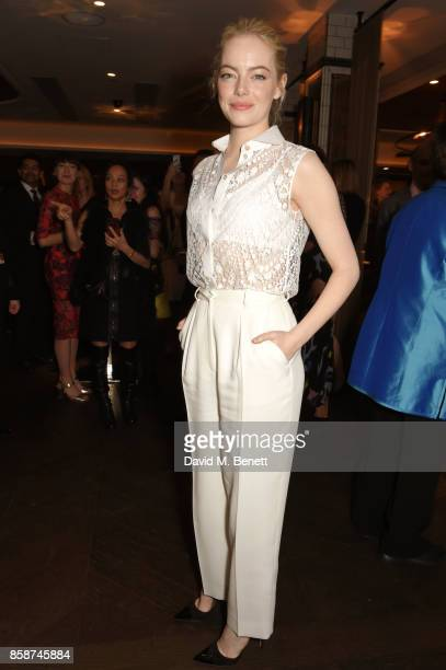Emma Stone attends the after party for 'Battle of the Sexes' during the 61st BFI London Film Festival at Aqua Nueva on October 7 2017 in London...