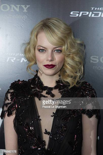 Emma Stone attends 'The Amazing Spider Man' Paris Film premiere at Le Grand Rex on June 19 2012 in Paris France