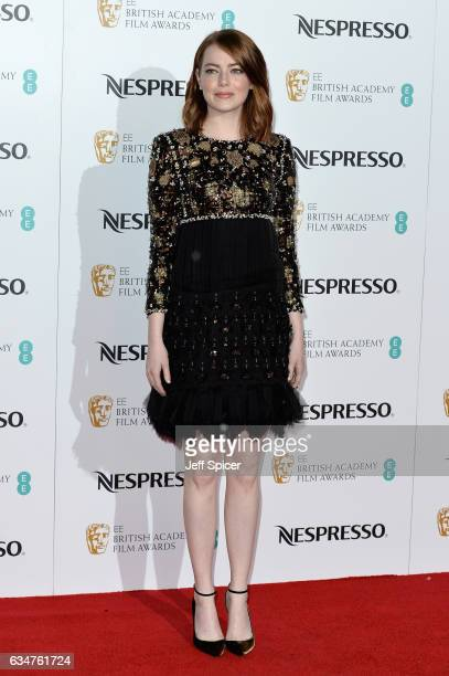 Emma Stone attends the BAFTA nominees party at Kensington Palace on February 11 2017 in London United Kingdom