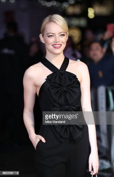Emma Stone attends the Headline Gala Screening UK Premiere of 'Killing of a Sacred Deer' during the 61st BFI London Film Festival on October 12 2017...