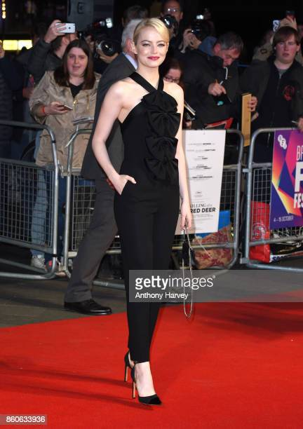 Emma Stone attends the Headline Gala Screening UK Premiere of Killing of a Sacred Deer during the 61st BFI London Film Festival on October 12 2017 in...