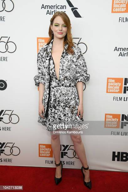 Emma Stone attends the opening night premiere of The Favourite during the 56th New York Film Festival at Alice Tully Hall Lincoln Center on September...