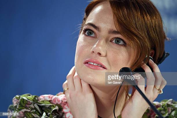 Emma Stone attends the press conference for 'La La Land' during the 73rd Venice Film Festival at on August 31 2016 in Venice Italy