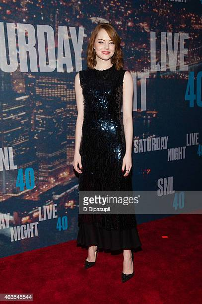 Emma Stone attends the SNL 40th Anniversary Celebration at Rockefeller Plaza on February 15 2015 in New York City