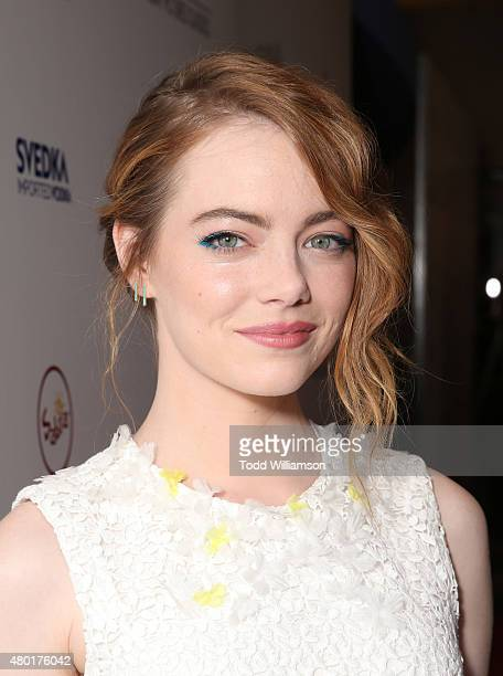 Emma Stone attends the Sony Pictures Classics premiere for 'Irrational Man' hosted by Svedka Vodka Hakkasan and Sabra at The WGA Theater on July 9...