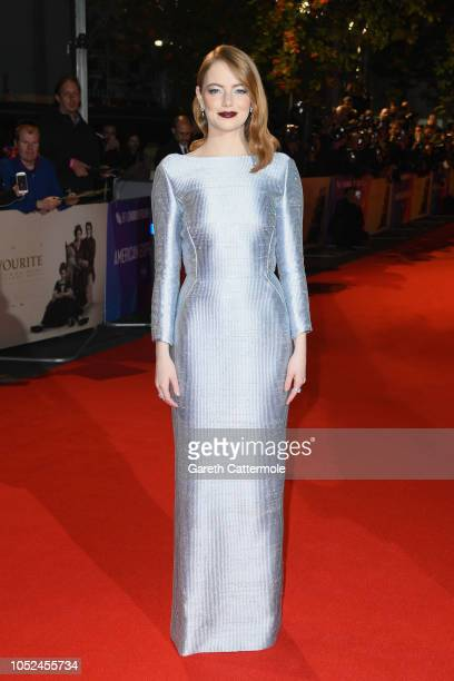 Emma Stone attends the UK Premiere of The Favourite American Express Gala at the 62nd BFI London Film Festival on October 18 2018 in London England