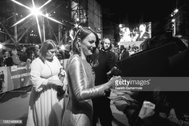 Image has been converted to black and white and created using a starburst filter Emma Stone attends the UK Premiere of 'The Favourite' American...