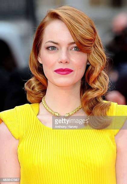 Emma Stone attends the World Premiere of The Amazing SpiderMan 2 at Odeon Leicester Square on April 10 2014 in London England