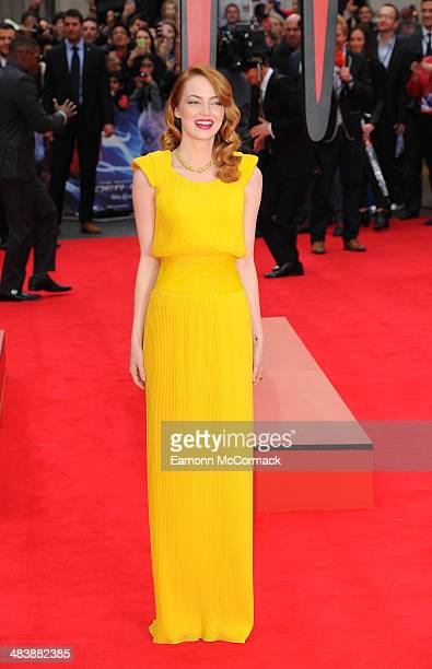 """Emma Stone attends the World Premiere of """"The Amazing Spider-Man 2"""" at Odeon Leicester Square on April 10, 2014 in London, England."""