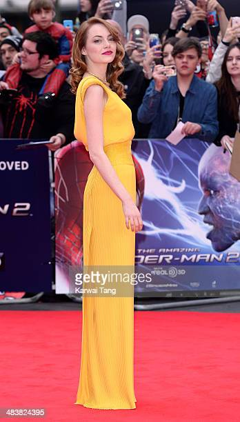 Emma Stone attends the World Premiere of 'The Amazing SpiderMan 2' held at the Odeon Leicester Square on April 10 2014 in London England