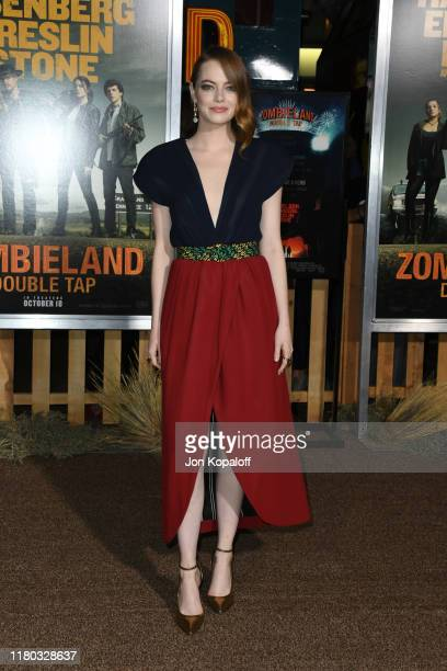 Emma Stone attends the Zombieland Double Tap Sony Pictures Premiere at Regency Village Theatre on October 10 2019 in Westwood California