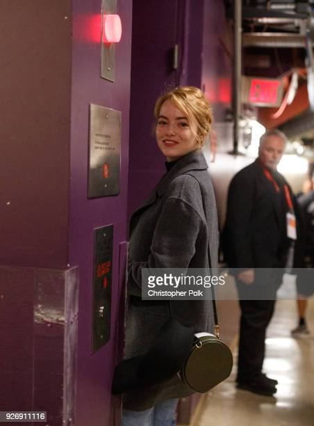 Emma Stone backstage during rehersals for the 90th Oscars at The Dolby Theatre on March 3, 2018 in Hollywood, California.