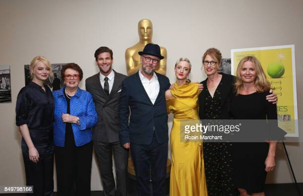 Emma Stone Billie Jean King Austin Stowell Jonathan Dayton Andrea Risborough Valerie Faris and Elisabeth Shue attend The Academy of Motion Picture...