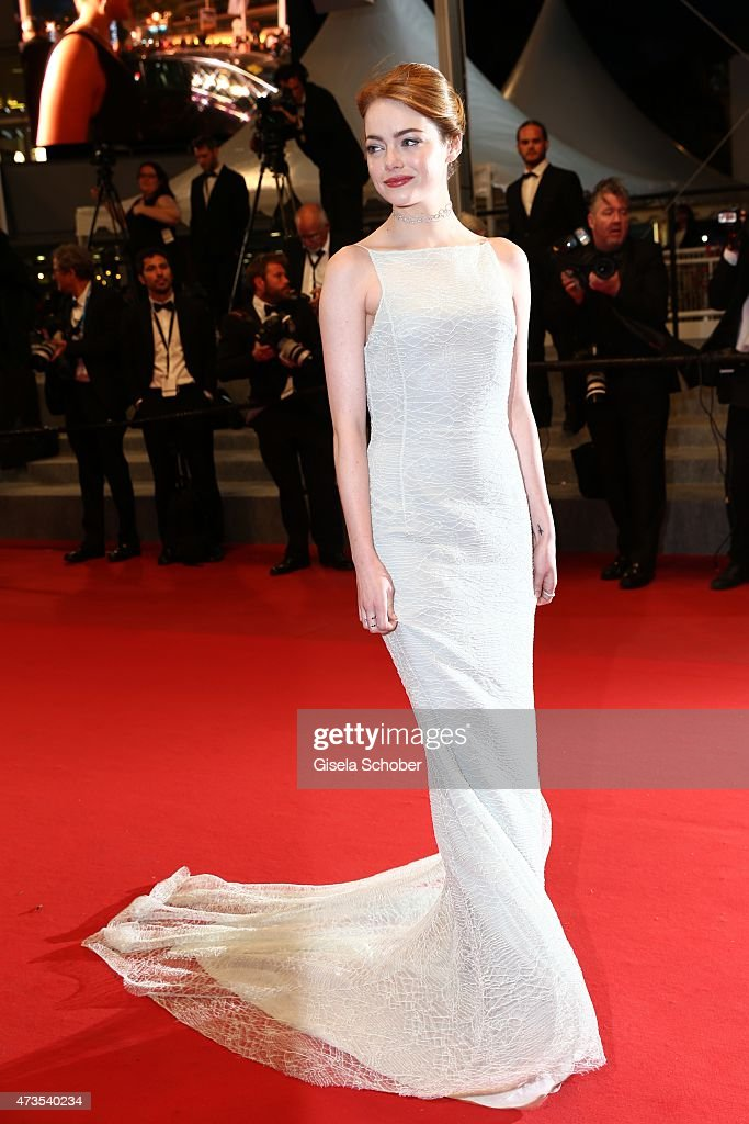 Emma Stone departs the Premiere of 'Irrational Man' during the 68th annual Cannes Film Festival on May 15, 2015 in Cannes, France.