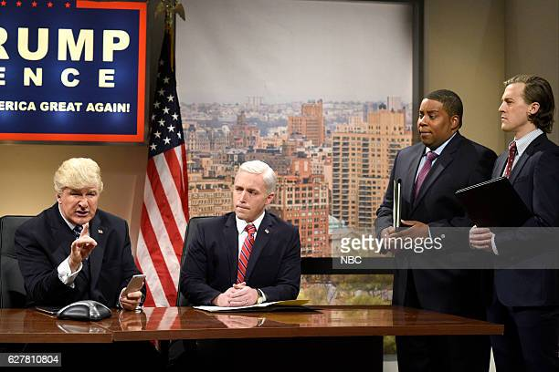LIVE Emma Stone Episode 1712 Pictured Alec Baldwin as Donald Trump Beck Bennett as Mike Pence Kenan Thompson and Alex Moffat during the Classroom...