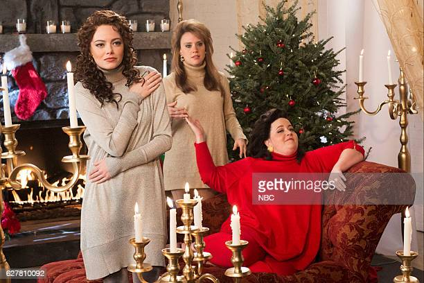 LIVE 'Emma Stone' Episode 1712 Pictured Emma Stone Kate McKinnon and Aidy Bryant during 'The Christmas Candle' sketch on December 3 2016