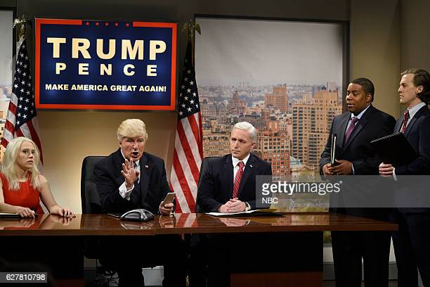 LIVE Emma Stone Episode 1712 Pictured Kate McKinnon as Kellyanne Conway Alec Baldwin as Donald Trump Beck Bennett as Mike Pence Kenan Thompson and...