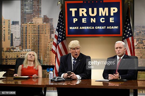 LIVE Emma Stone Episode 1712 Pictured Kate McKinnon as Kellyanne Conway Alec Baldwin as Donald Trump and Beck Bennett as Mike Pence during the...