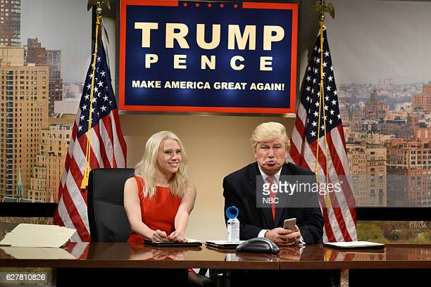 LIVE Emma Stone Episode 1712 Pictured Kate McKinnon as Kellyanne Conway and Alec Baldwin as Donald Trump during the Classroom Cold Open sketch on...