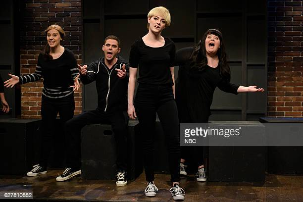 LIVE Emma Stone Episode 1712 Pictured Kate McKinnon Mikey Day Emma Stone and Aidy Bryant during the High School Theater Show sketch on December 3 2016