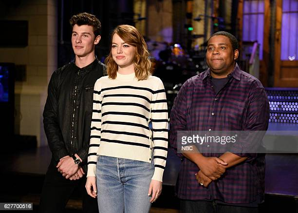 LIVE Emma Stone Episode 1712 Pictured Musical guest Shawn Mendes host Emma Stone and Kenan Thompson on December 1 2016