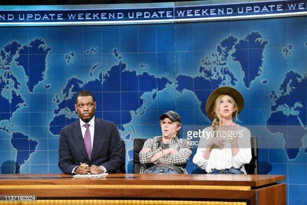 LIVE Emma Stone Episode 1764 Pictured Anchor Michael Che with Mikey Day and Heidi Gardner as Instagram Couple Nico Slobkin and Brie Bacardi during...