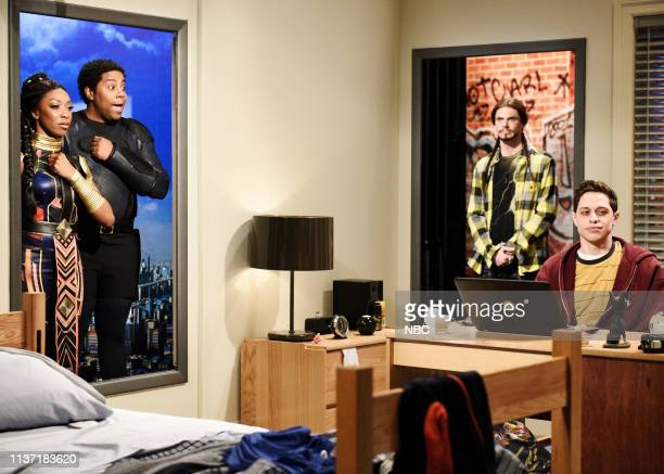 """Emma Stone"""" Episode 1764 -- Pictured: Ego Nwodim as Jaguar, Kenan Thompson as Black Puma, Mikey Day as Lil Percocet, and Pete Davidson as a college..."""