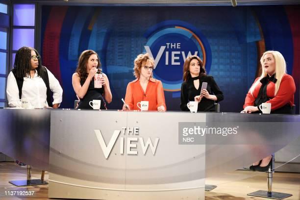 LIVE 'Emma Stone' Episode 1764 Pictured Leslie Jones as Whoopi Goldberg Cecily Strong as Abby Huntsman Kate McKinnon as Joy Behar Melissa Villaseñor...