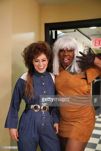 LIVE 'Emma Stone' Episode 1764 Pictured Melissa Villaseñor and Leslie Jones backstage in Studio 8H on Saturday April 13 2019