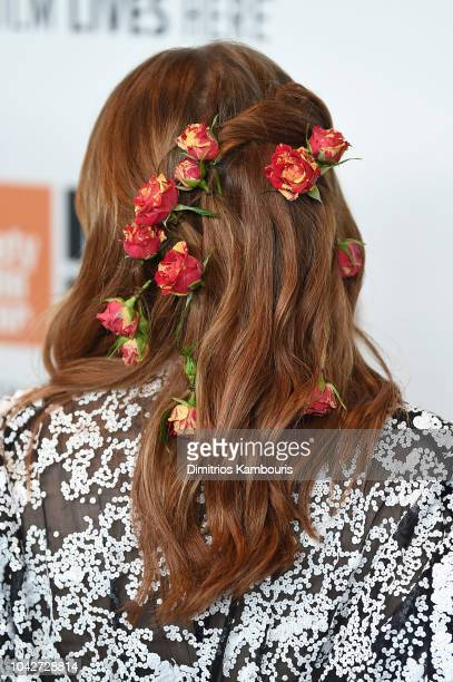 Emma Stone fashion detail attends the opening night premiere of The Favourite during the 56th New York Film Festival at Alice Tully Hall Lincoln...