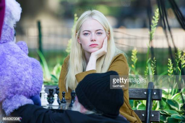 Emma Stone films a scene for 'Maniac' at Washington Square on October 20 2017 in New York City