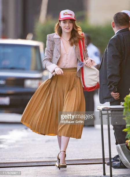 Emma Stone is seen at 'Jimmy Kimmel Live' on October 10, 2019 in Los Angeles, California.