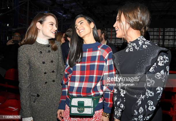 Emma Stone Jennifer Connelly and Alicia Vikander attend the Louis Vuitton show as part of the Paris Fashion Week Womenswear Fall/Winter 2019/2020 on...