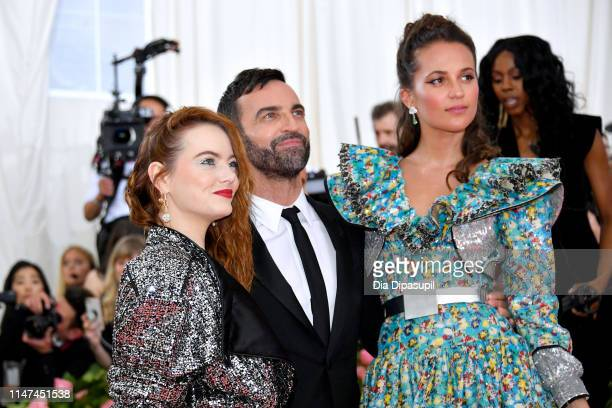 Emma Stone Nicolas Ghesquiere and Alicia Vikander attend The 2019 Met Gala Celebrating Camp Notes on Fashion at Metropolitan Museum of Art on May 06...