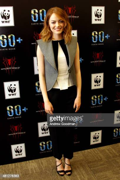Emma Stone of The Amazing SpiderMan 2 attends the Earth Hour KickOff with SpiderMan The First Super Hero Ambassador for Earth Hour the global...