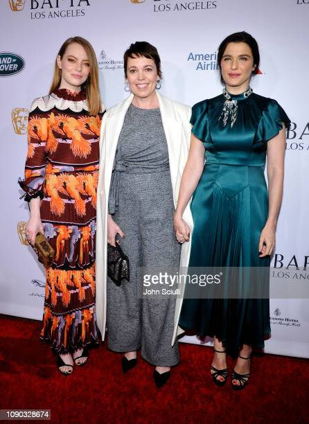 Emma Stone Olivia Colman and Rachel Weisz arrive to the BAFTA Tea Party at The Four Seasons Hotel Los Angeles at Beverly Hills on January 05 2019 in...