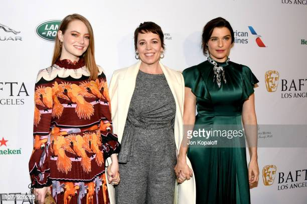 Emma Stone Olivia Colman and Rachel Weisz attend The BAFTA Los Angeles Tea Party at Four Seasons Hotel Los Angeles at Beverly Hills on January 5 2019...