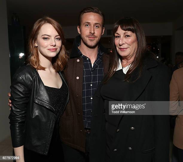 Emma Stone Ryan Gosling and Anjelica Huston attend a Bulleit Bourbon presented Special Screening hosted by Anjelica Huston of Lionsgate's LA LA LAND...