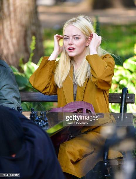 Emma Stone seen on location for 'Maniac' in Washington Square Park on October 20 2017 in New York City