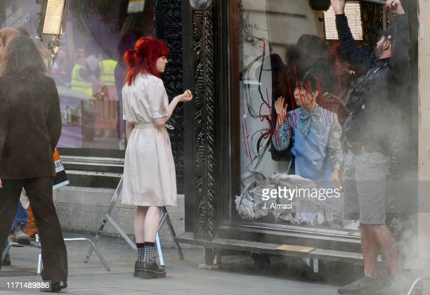 Emma Stone seen on set of Disney's new film 'Cruella' outside the Liberty store on September 01, 2019 in London, England.