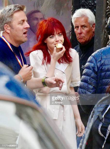 Emma Stone seen on set of Disney's new film 'Cruella' outside the Liberty store on September 01 2019 in London England