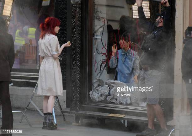 Emma Stone seen on set of Disney's new film 'Cruella', outside the Liberty store on September 01, 2019 in London, England.