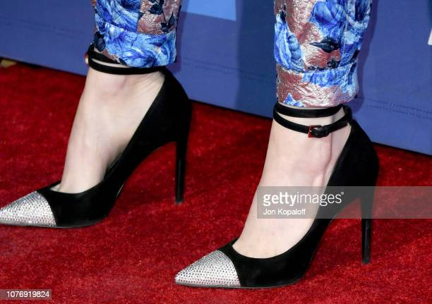 Emma Stone shoe detail attends the 30th Annual Palm Springs International Film Festival Film Awards Gala at Palm Springs Convention Center on January...