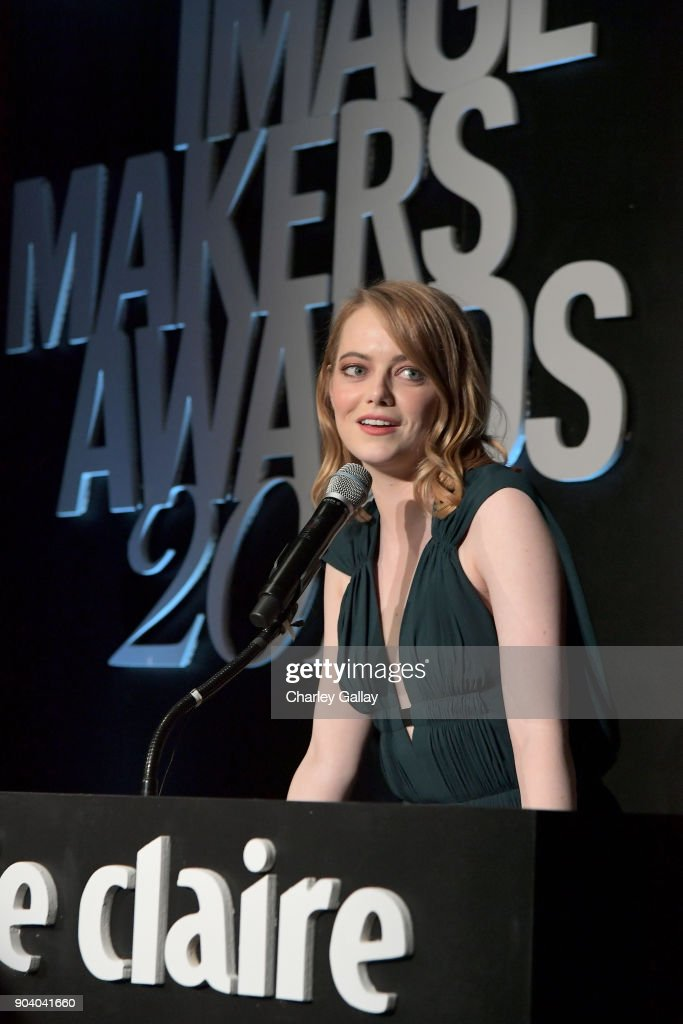 Emma Stone speaks on stage at the Marie Claire's Image Makers Awards 2018 on January 11, 2018 in West Hollywood, California.